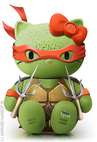 Hello Kitty crossed over with Raphael from Teenage Mutant Ninja Turtles
