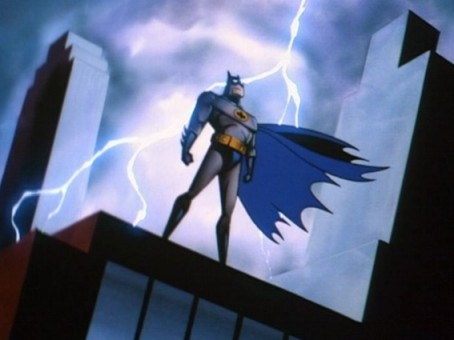 Batman with lightning behind him