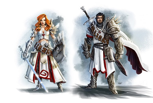 Early concept art of the two main heroes.