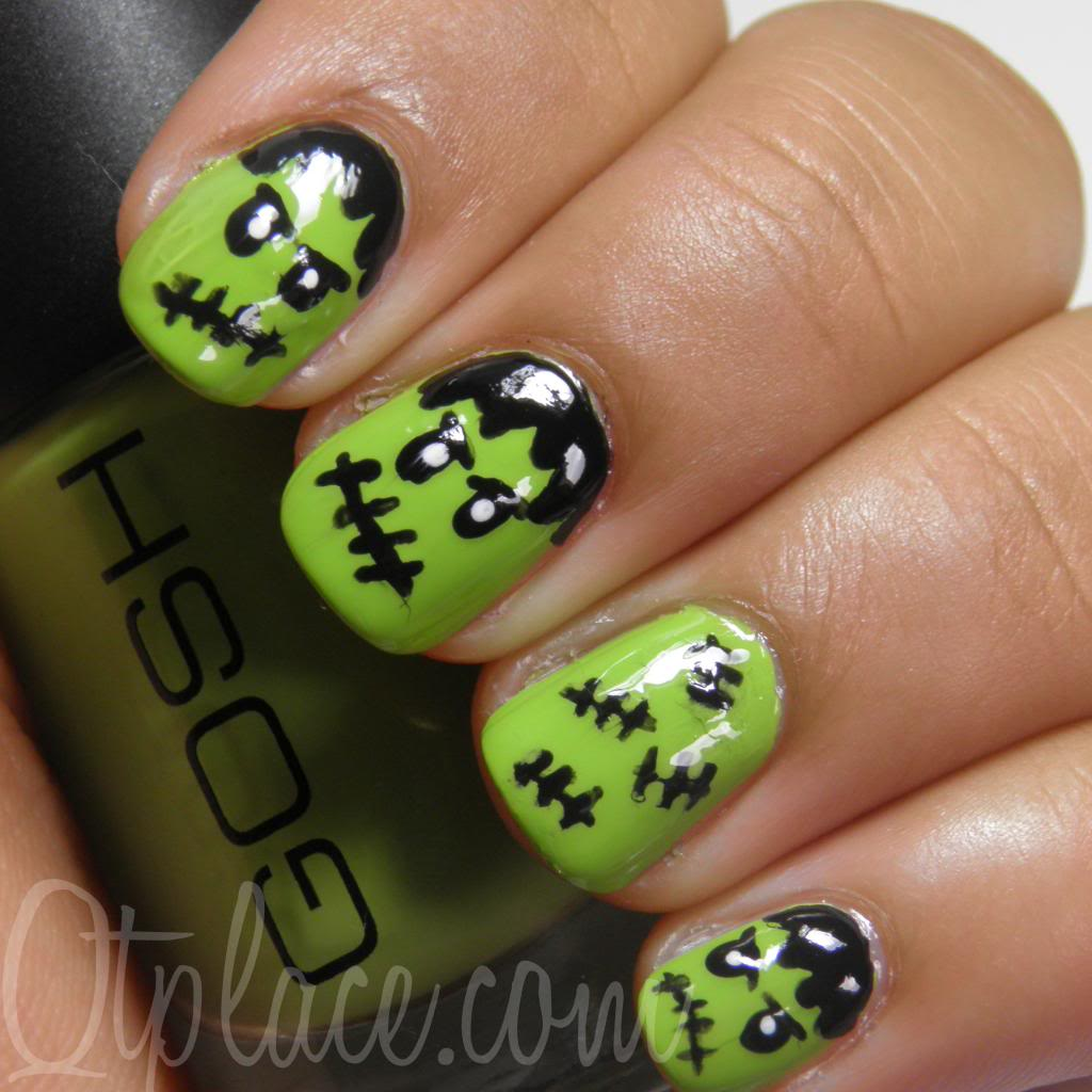 The ten scariest nail art designs for halloween nerdy but flirty frankenstein nails prinsesfo Gallery