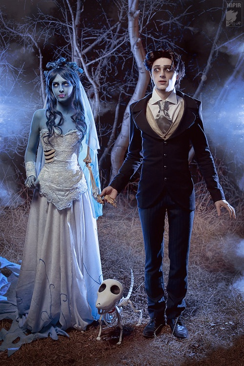 Corpse Bride and Groom (And Dog!)