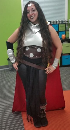 First up we have Sarah! u201cI was a made-up warrior woman using pieces from my old Thor costume. As evidenced by the crescent moon I clearly serve a moon ...  sc 1 st  Nerdy But Flirty & The Women of NBF Celebrate Halloween! | Nerdy But Flirty