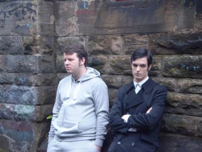Joseph Bell (Dylan Stuart) and Alasdair Reavey (Dorian Grey) filming the alley sequence.
