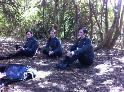 Joshua Layden (Robert Burns), Christopher Stanley (Magnus Grey), and Alasdair Reavey (Dorian Grey) filming the battle campfire scenes.