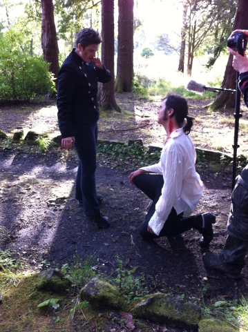 Amy Hoff (Desdemona) and Joshua Layden (Robert Burns) filming the scene where he is turned into a vampire.
