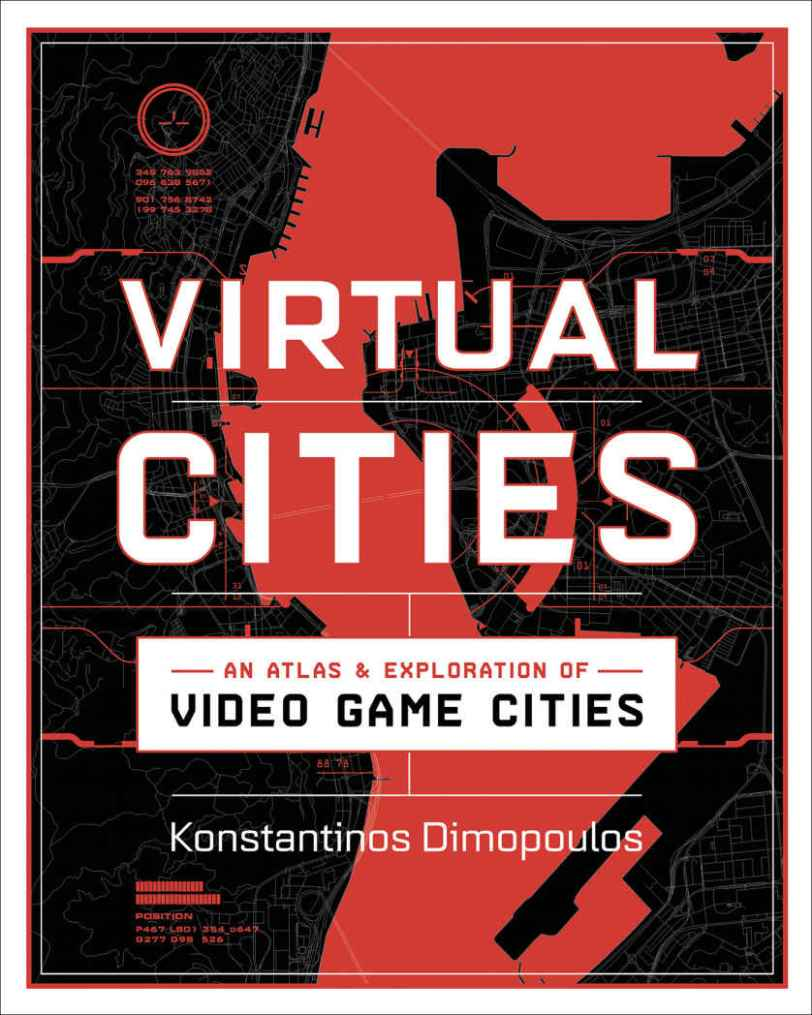 The cover of Virtual Cities. It's red, white, and black and has a vague idea of a map behind the title, subtitle, and author's name